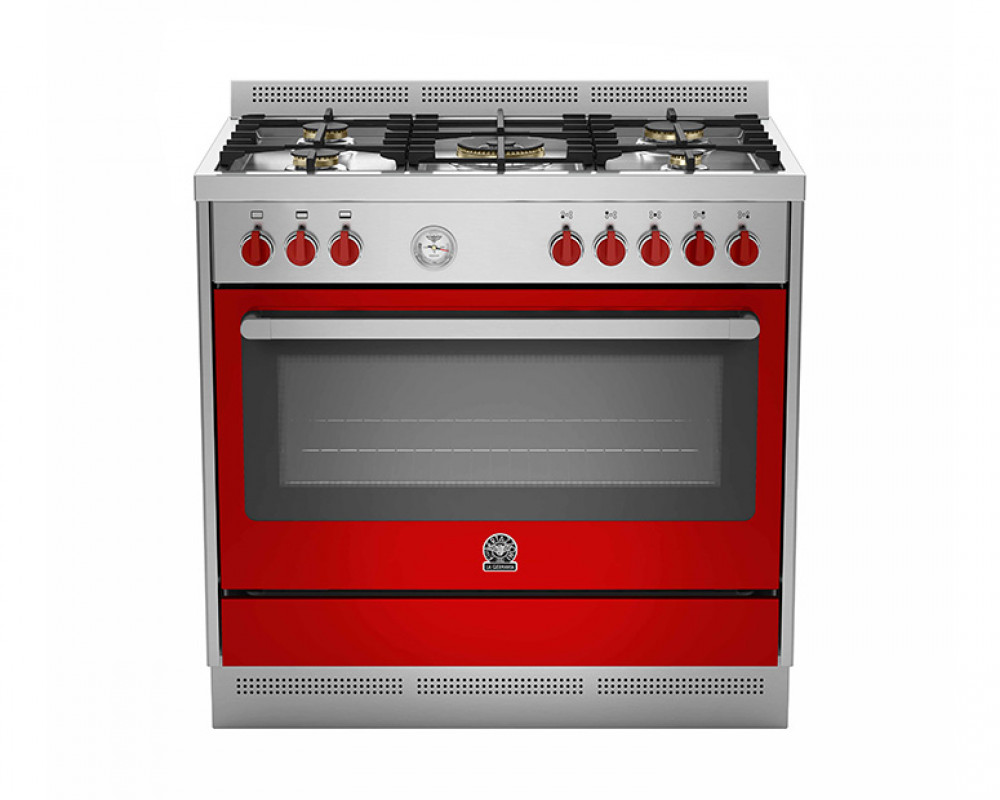 LaGermania gas stove 5 Prima gas torch 90 x 60 cm with two colors red stainless steel RIS95C81AXR