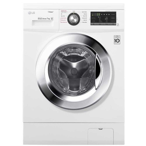LG washing machine 7 kg 1400 steam roll white color direct drive drive FH4G6QDY2