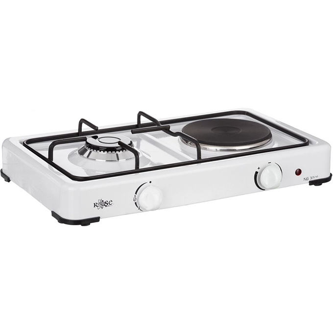 Rose NG3008 Gas Cooker with Integrated Single Hot Plate, White